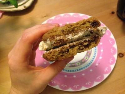 Double Choc Chip Cookie Icecream Sandwiches